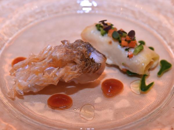甘鯛のパンシアード タラバ蟹と百合根のカネロニと共に