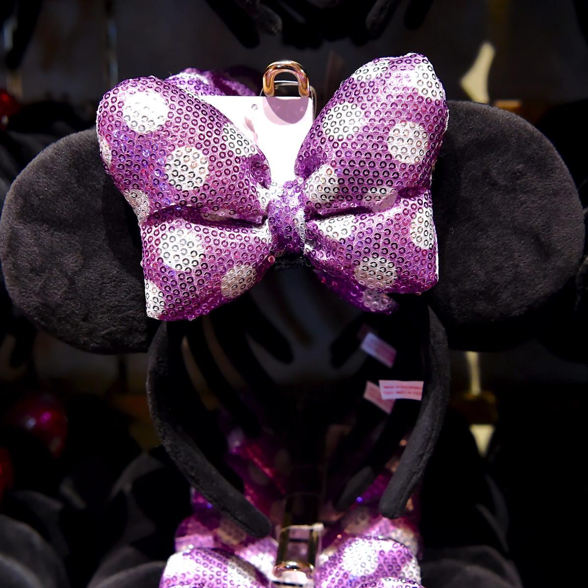 ミニースパンコールりぼんカチューシャ(紫)