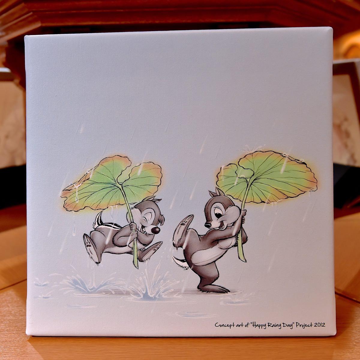 チップ&デール 蓮の葉 雨
