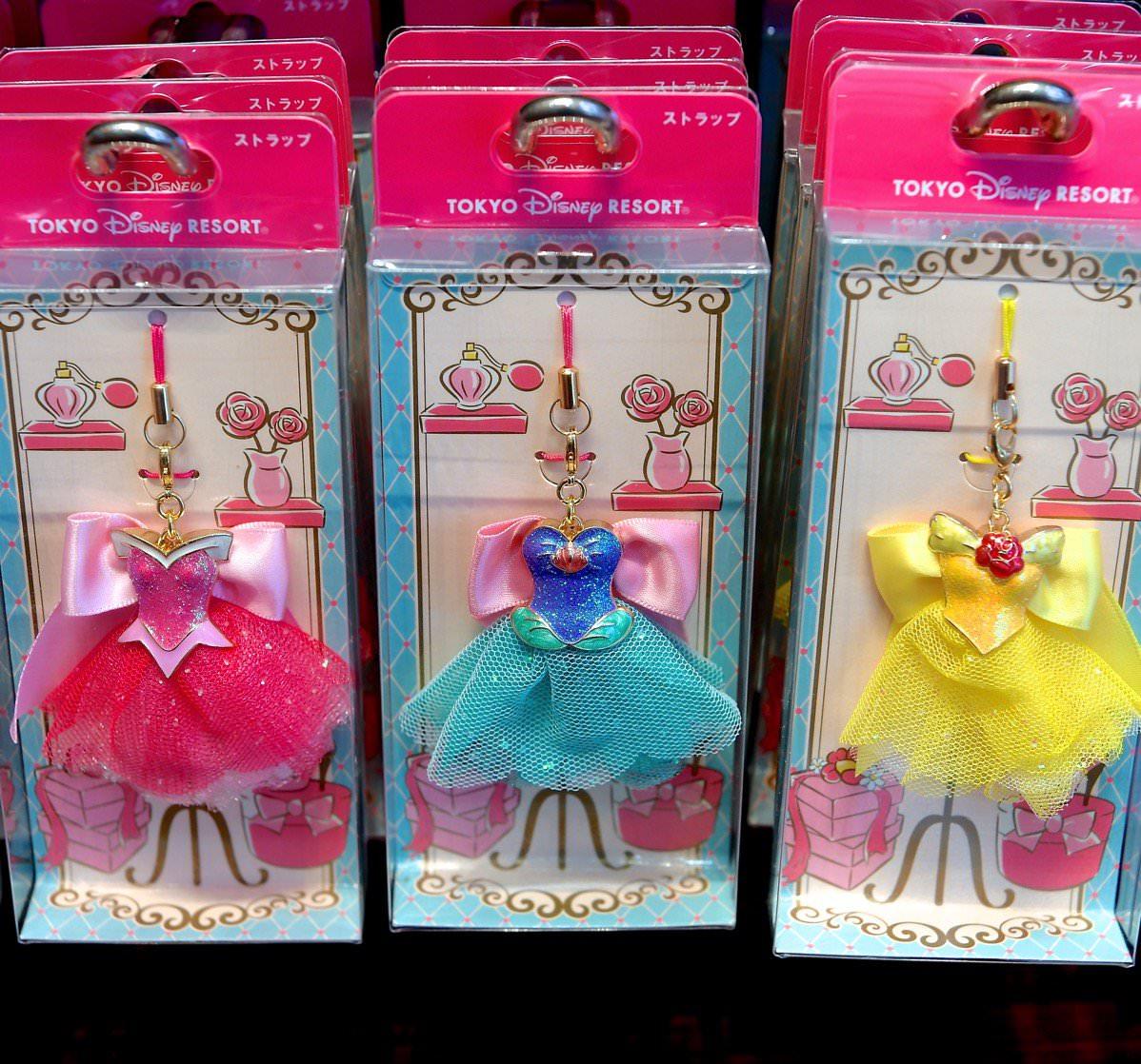 プリンセスのドレスを再現☆東京ディズニーランド ディズニープリンセスストラップ ,