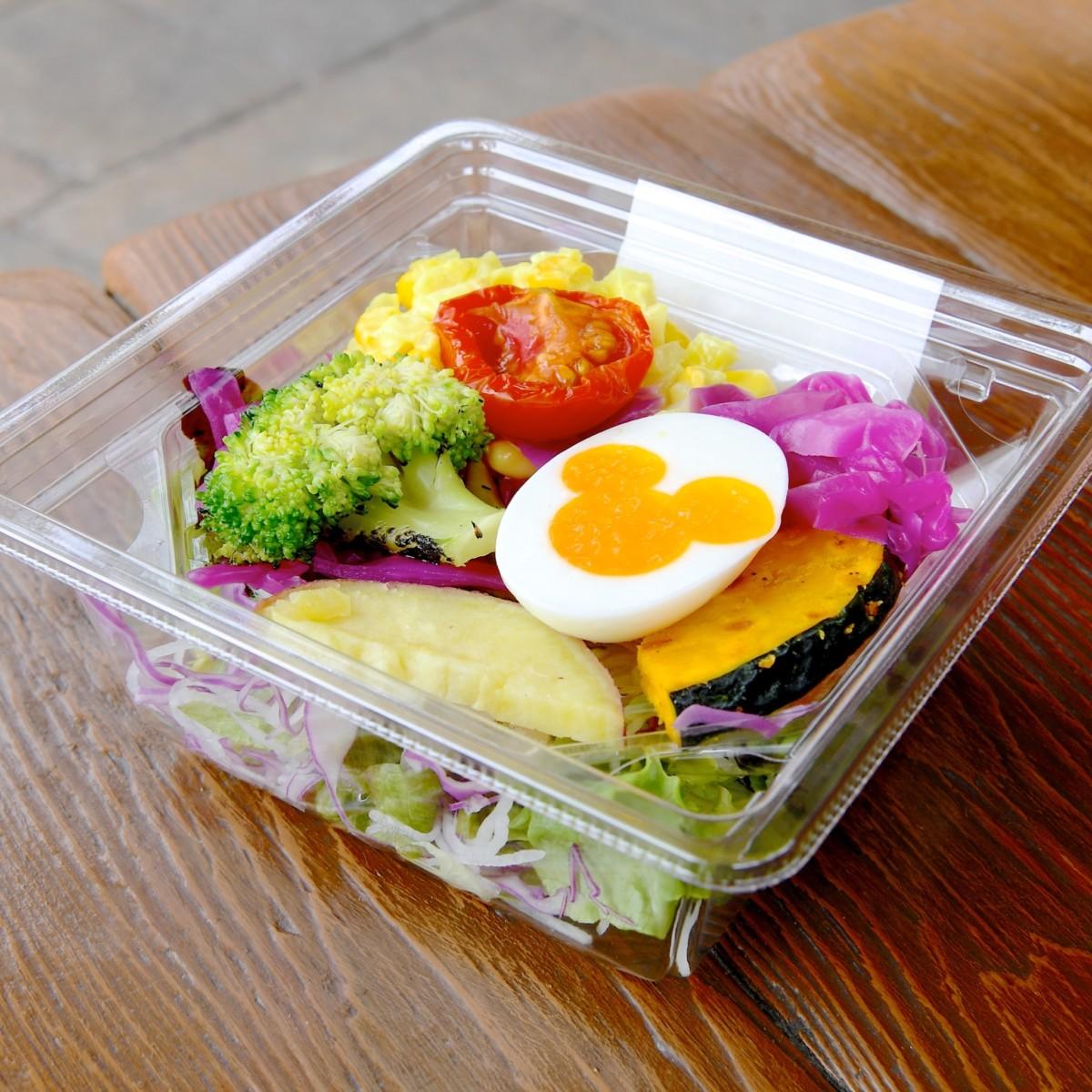 ローストベジタブルとエッグのサラダ、トマトオニオンドレッシング
