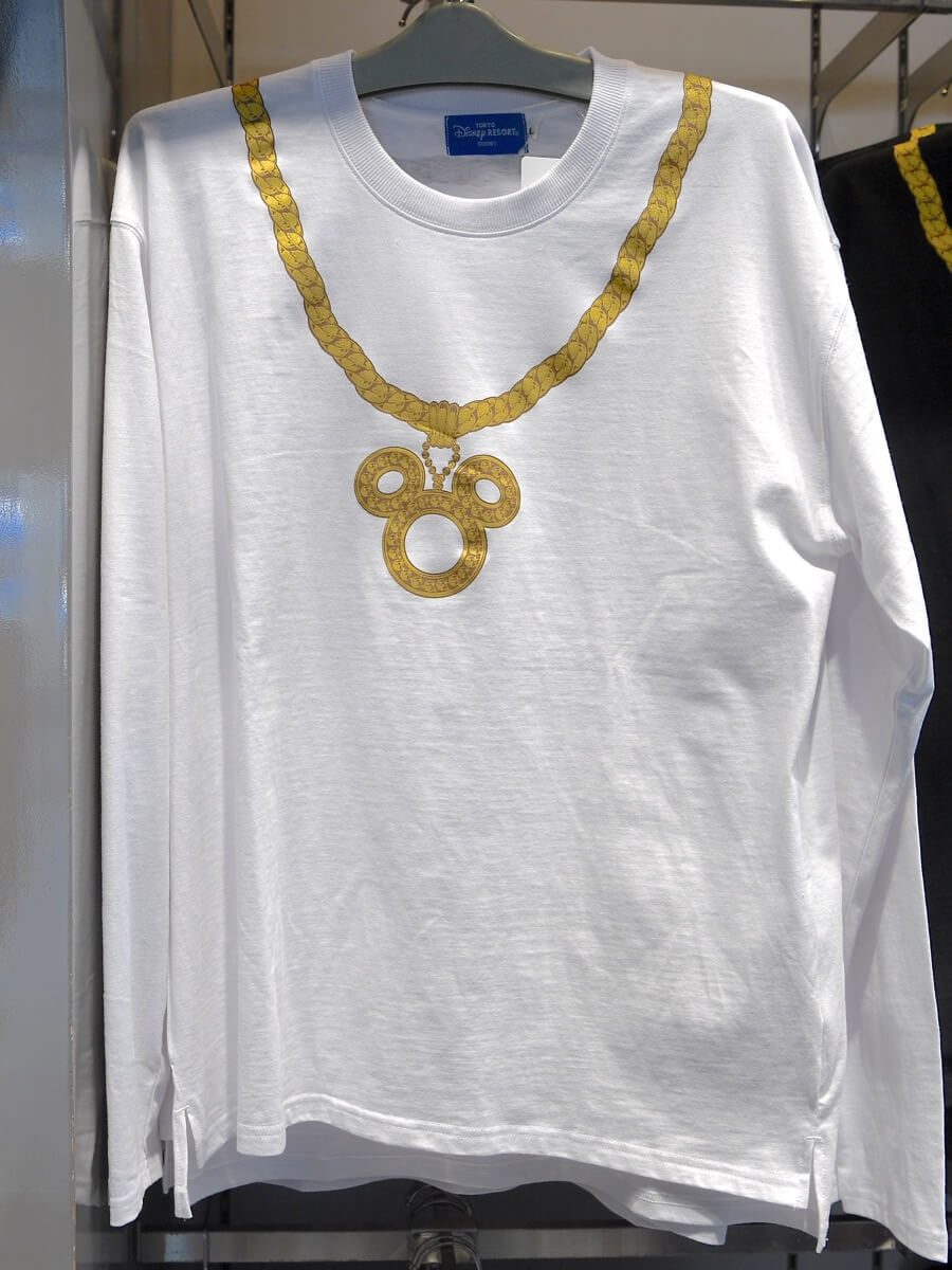 ミッキーネックレスロングTシャツ(白)