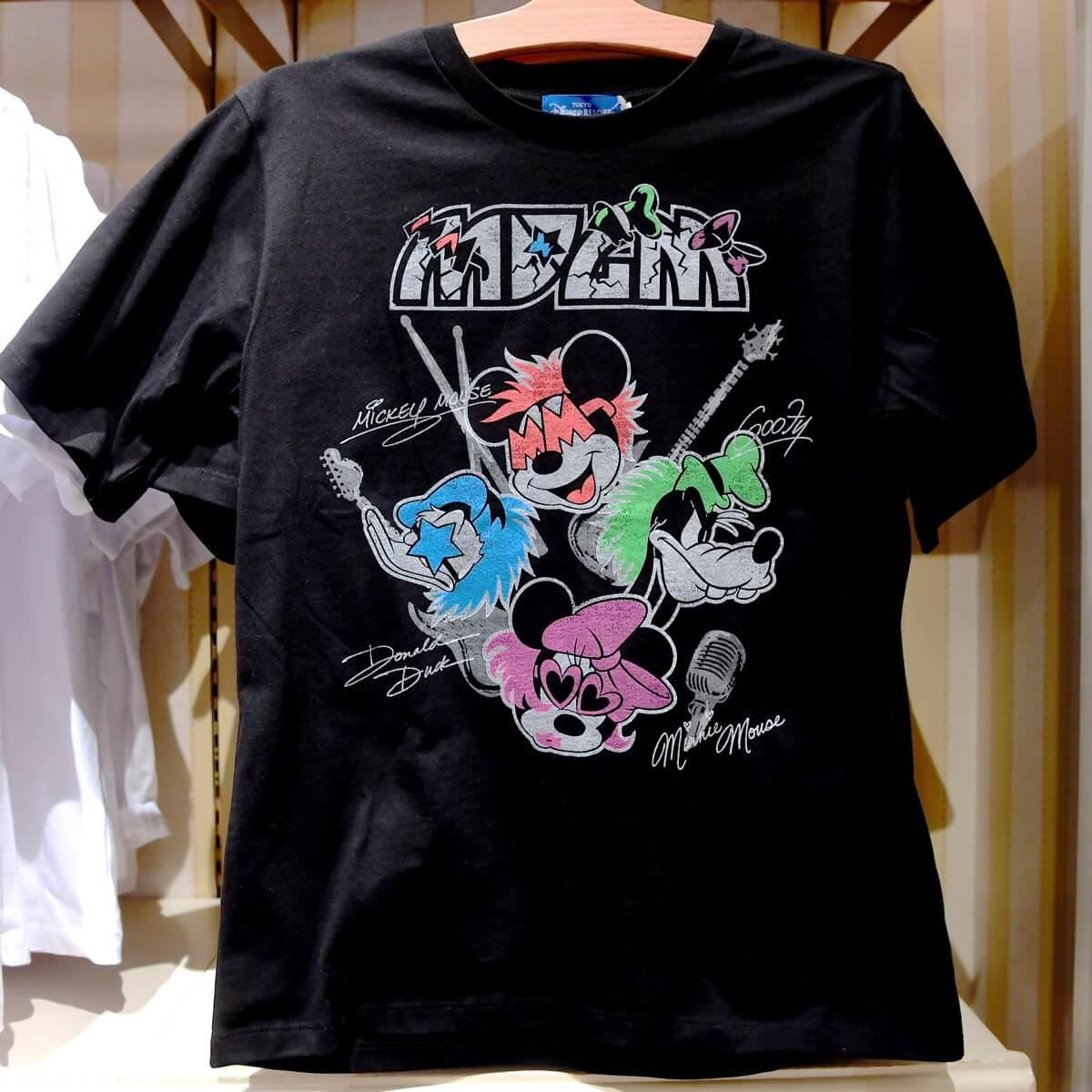 ミッキー&フレンズロックデザインTシャツ 黒