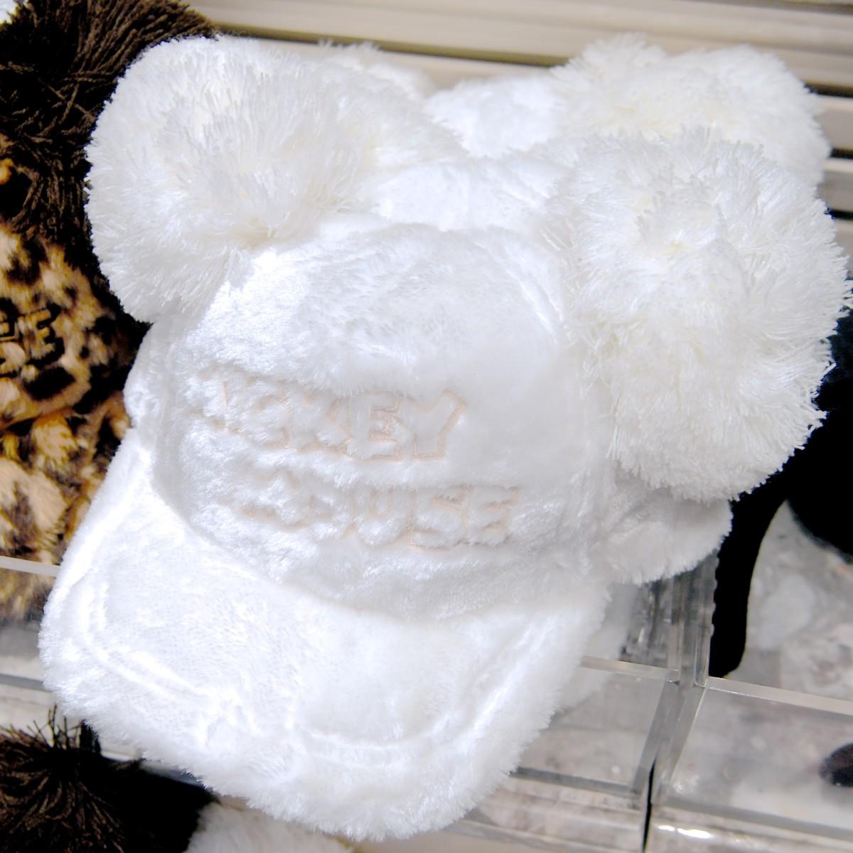 ミッキーお耳ポンポン付きホワイトキャップ