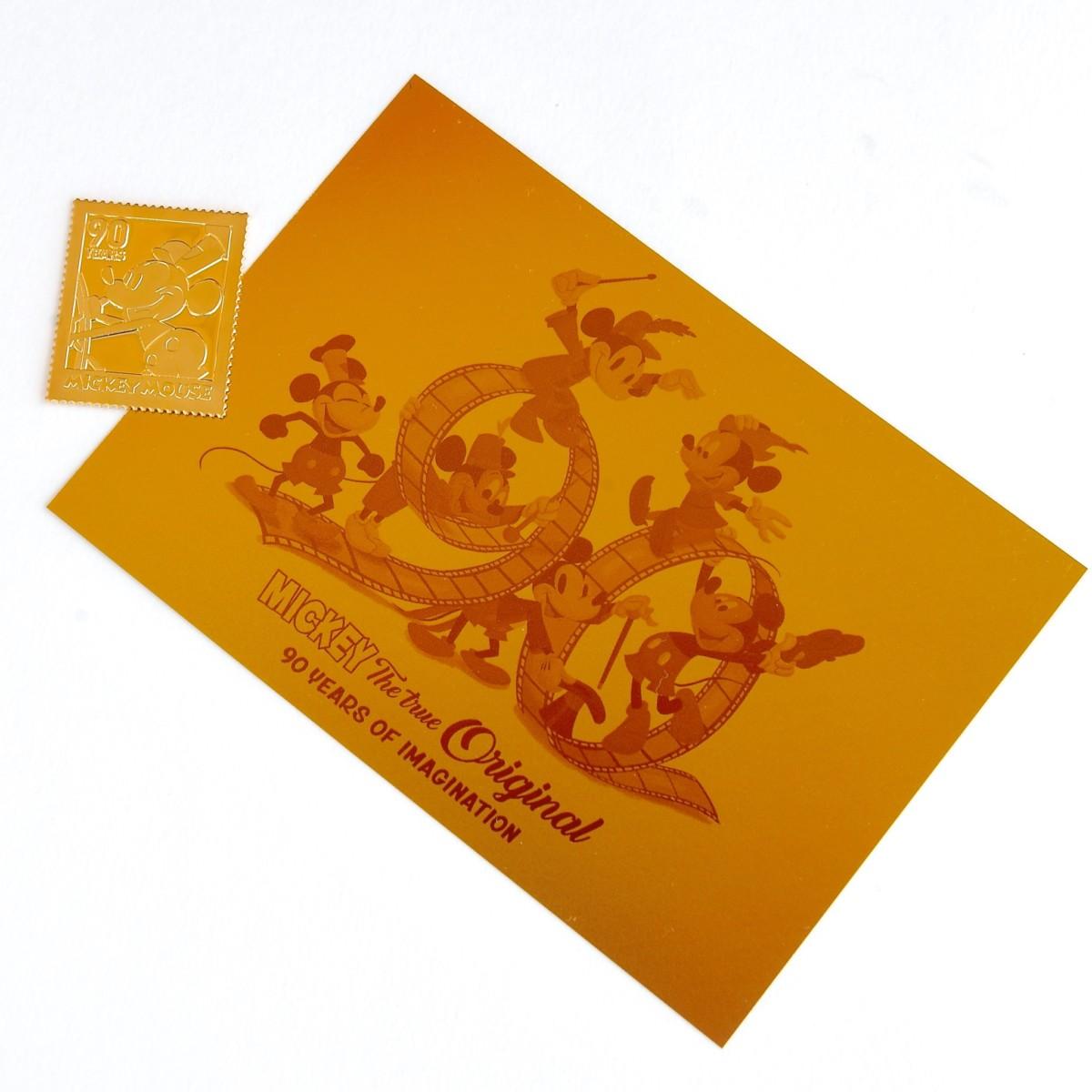 W純金アイテム額装セットミッキーマウス90周年 純金ポストカード 切手型純金プレート