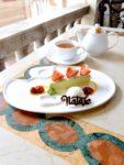 ピスタチオムースケーキとマスカルポーネアイス コーヒーまたは紅茶