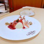 ピスタチオのクレームブリュレとマスカットソルベ 赤い果実のソース 紅茶
