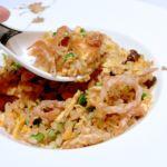 鯛と白魚の炒飯 サンラー風味 アップ