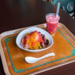 東京ディズニーシー「ヴォルケイニア・レストラン」シェイブアイス(豆花、フルーツ、タピオカ) ドリンク